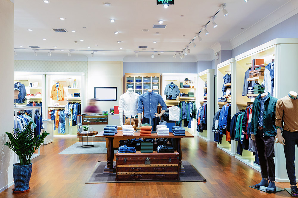 Store interior with various apparel for sale
