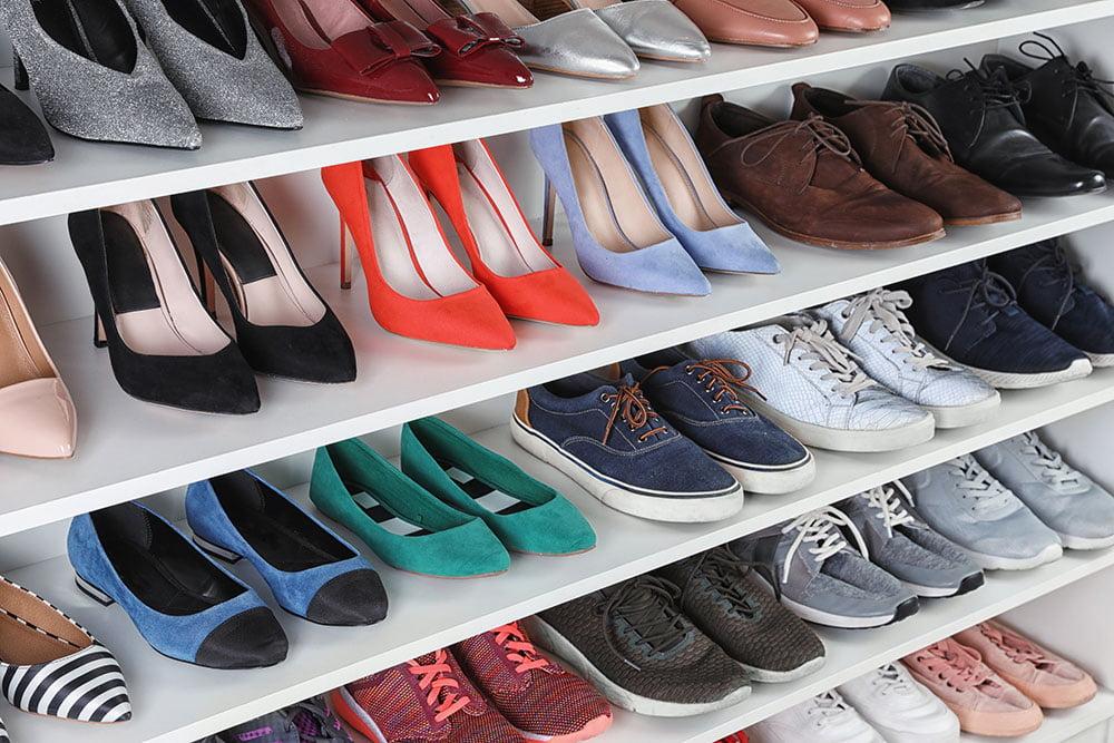 Footwear displayed on store shelves